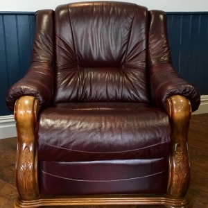 Burgundy Leather Electric Recliner Chair