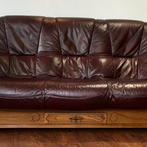 3 seat burgundy leather sofa