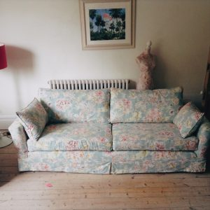 Loose covers on sofa made from Warwick Lucky Azure