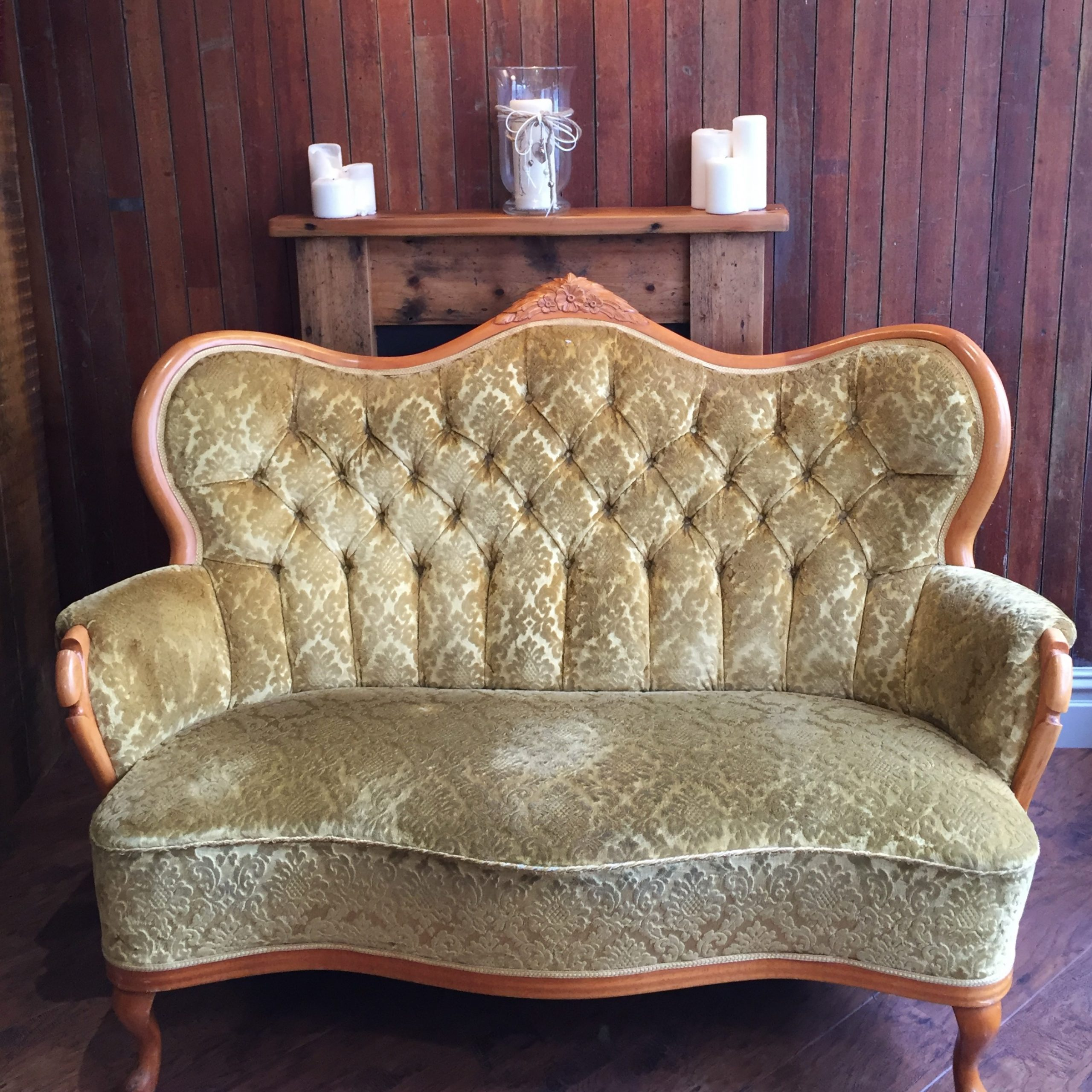 gold vintage sofa front