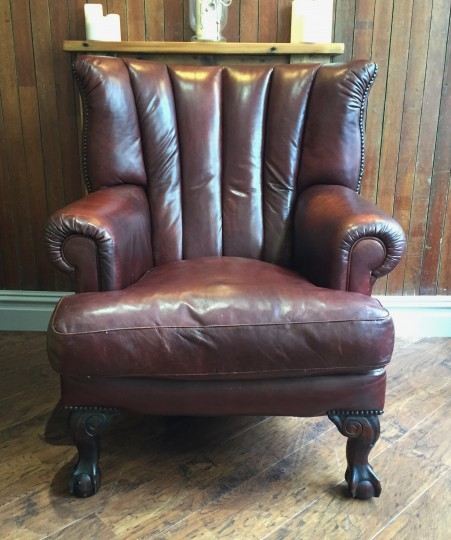 Front of leather armchair