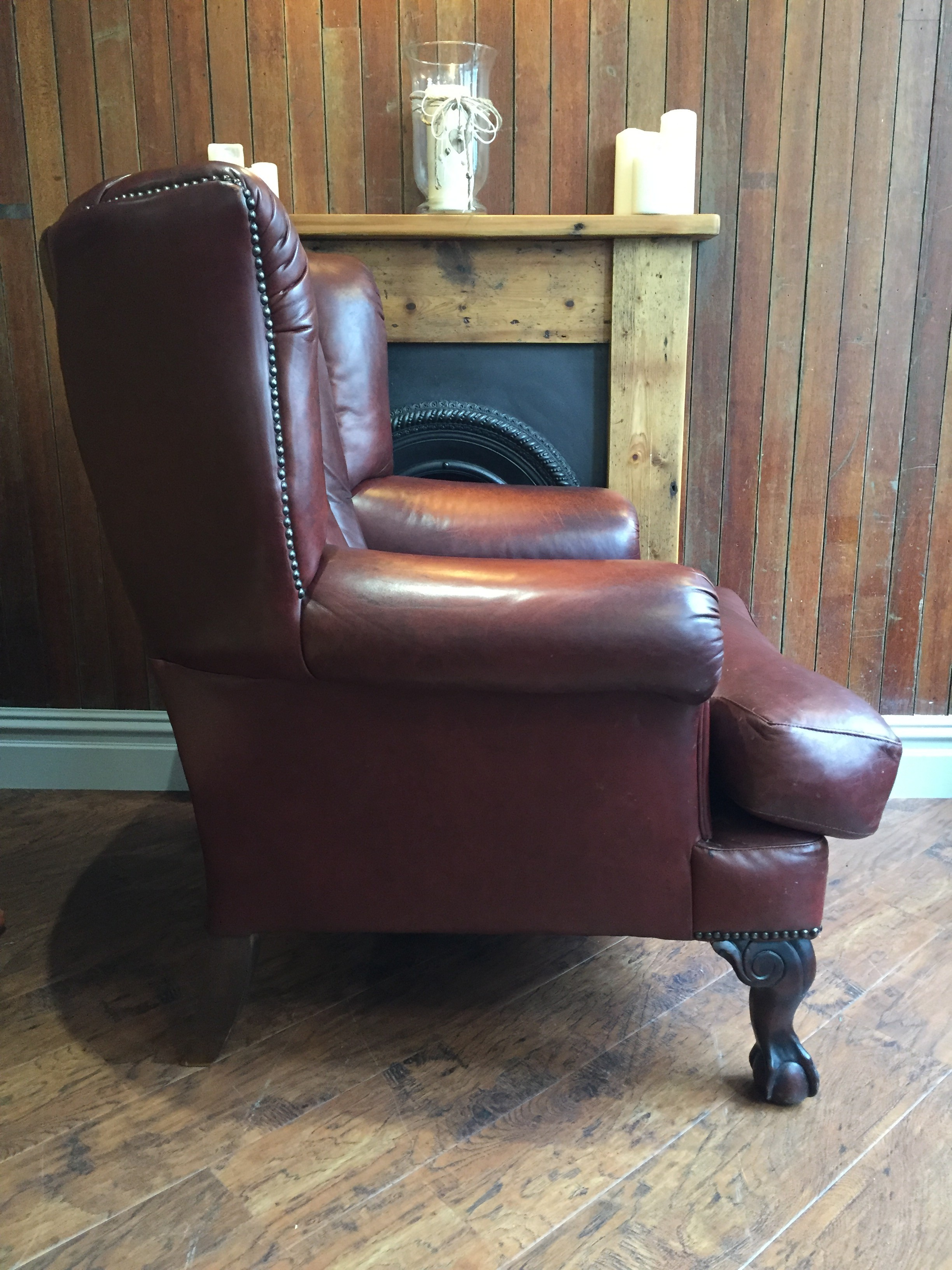 Side of leather armchair