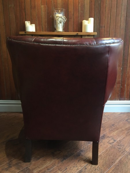 Back of leather armchair