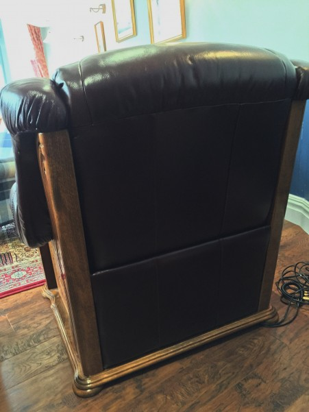 Back of Burgundy Leather Electric Recliner Chair