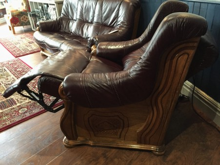 Reclined side of Burgundy Leather Electric Recliner Chair