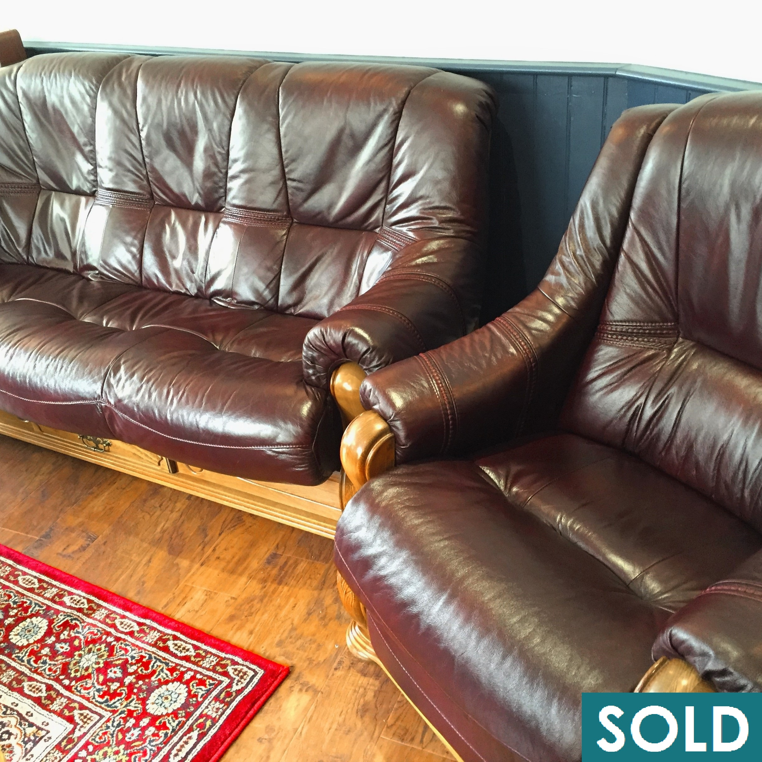 SOLD Burgundy leather 3 seat sofa and reclining chair