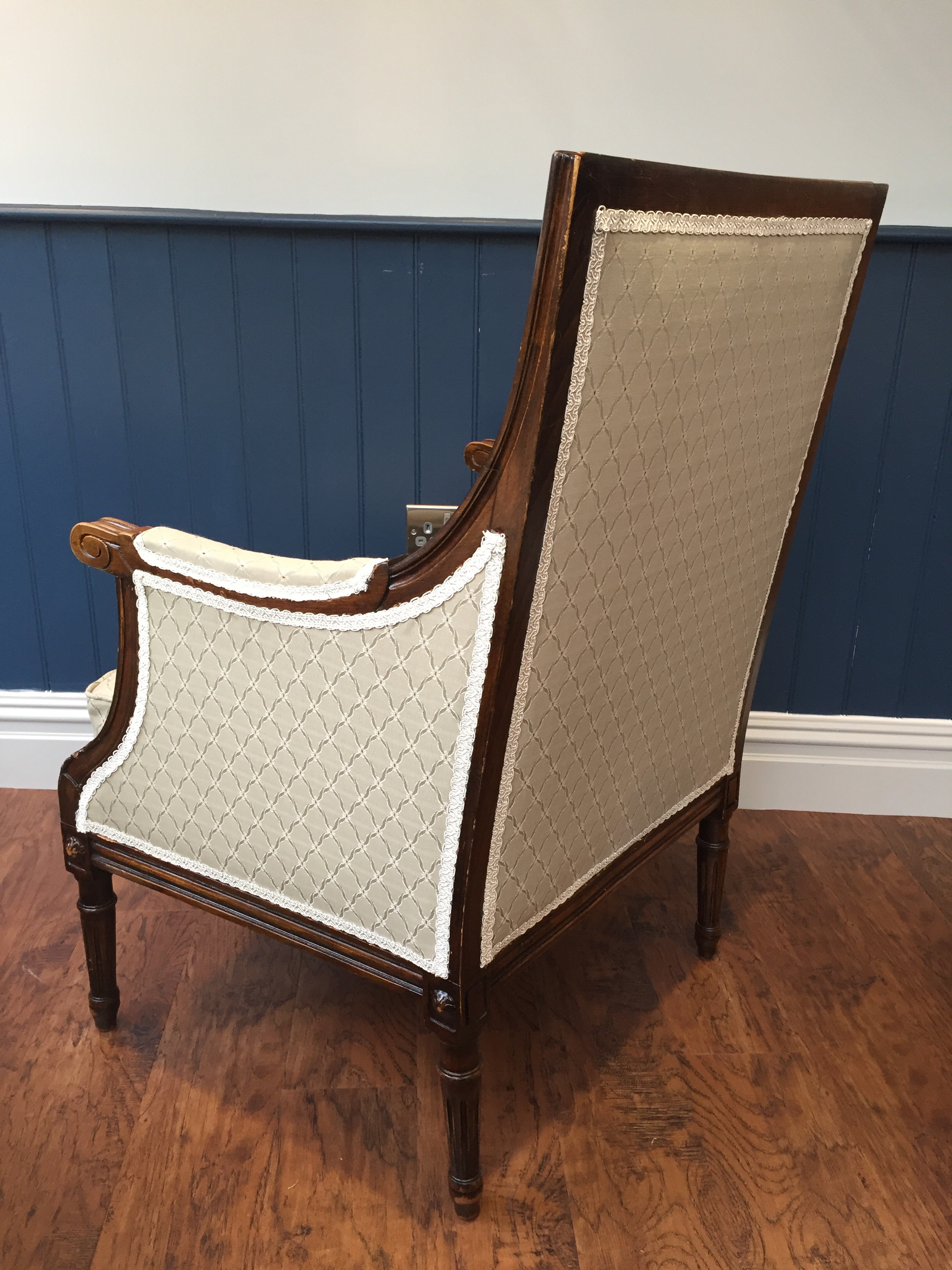 Antique armchair facing backwards