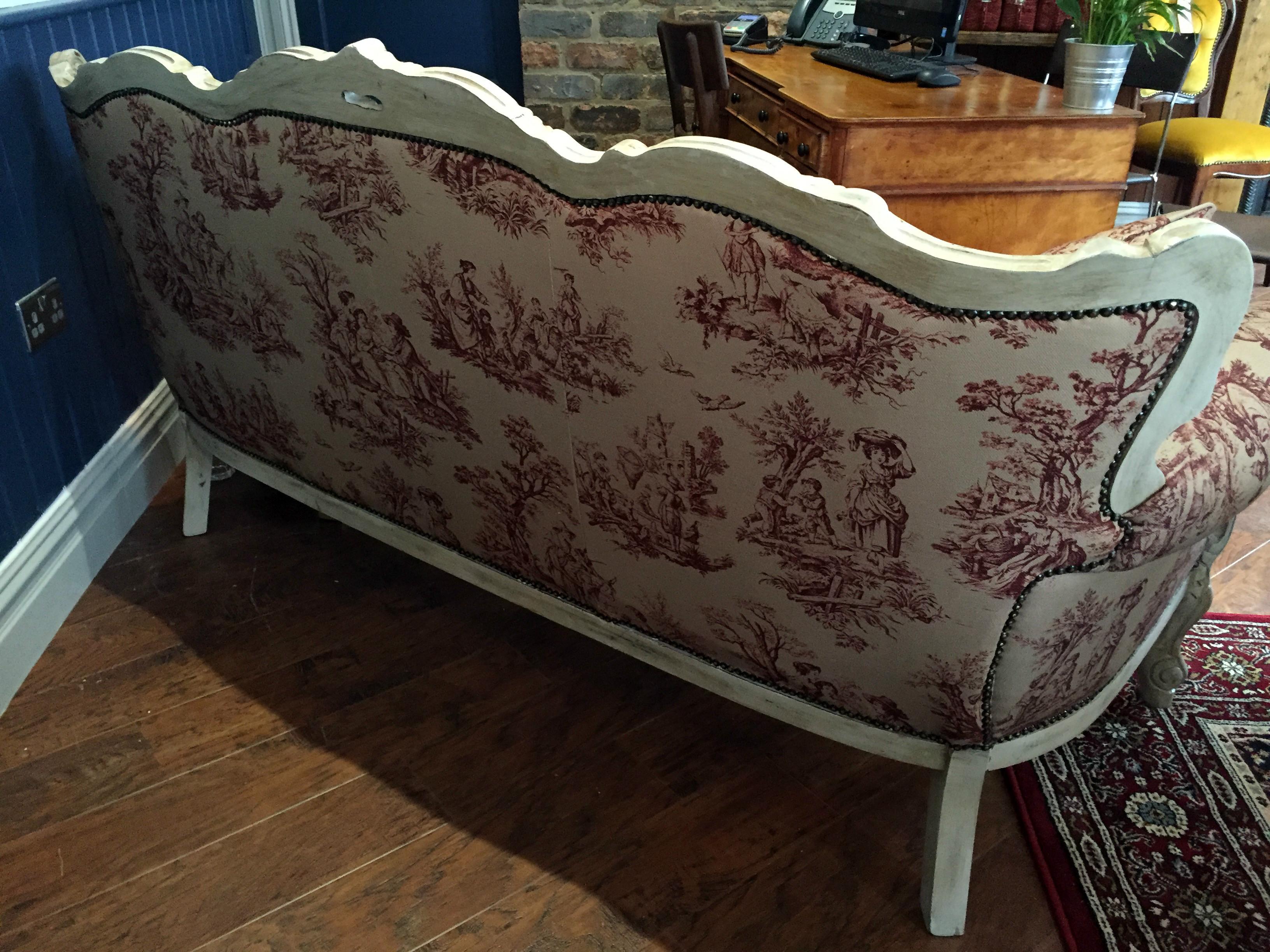 Back of vintage sofa