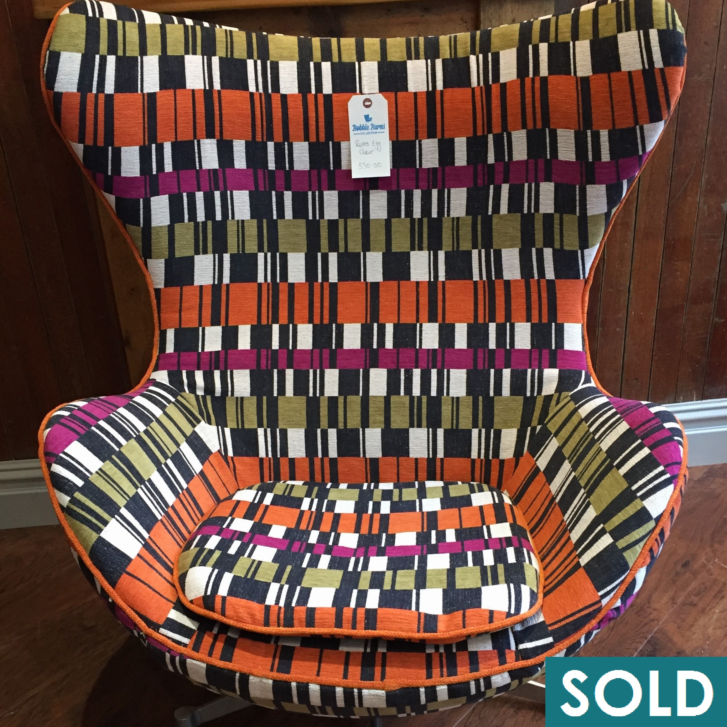 egg chair square orange sold