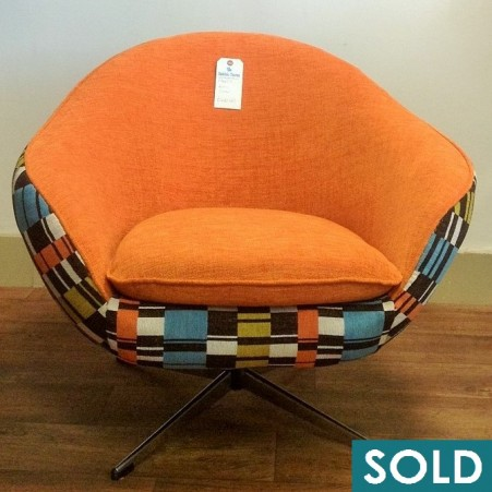 orange retro chair square sold