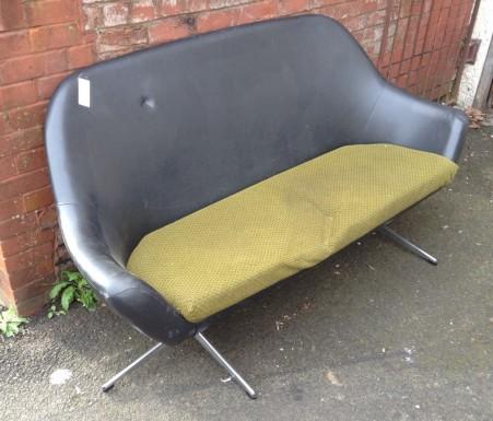 Retro two seat sofa with chrome legs