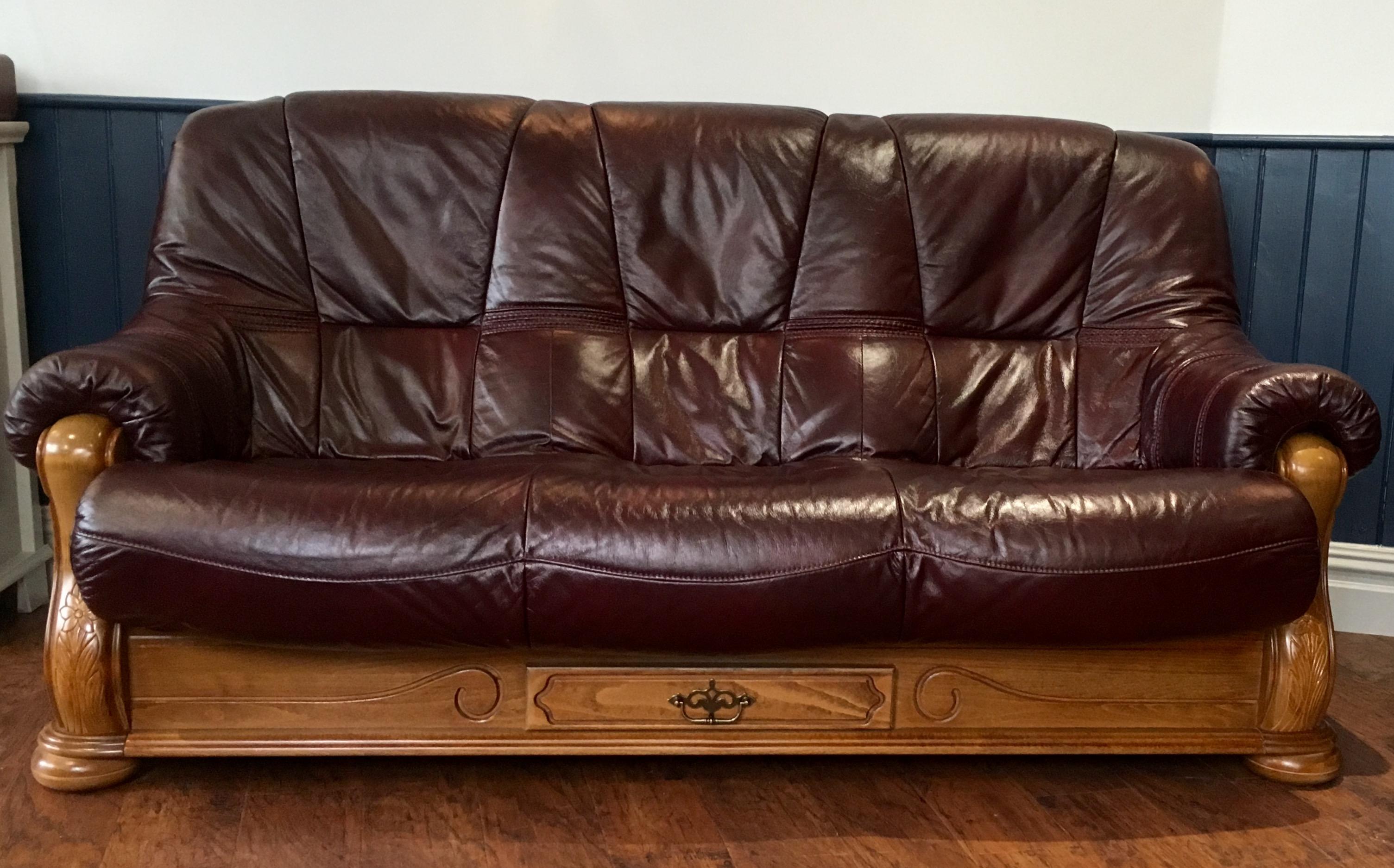 3 Seat Burgundy Leather Sofa