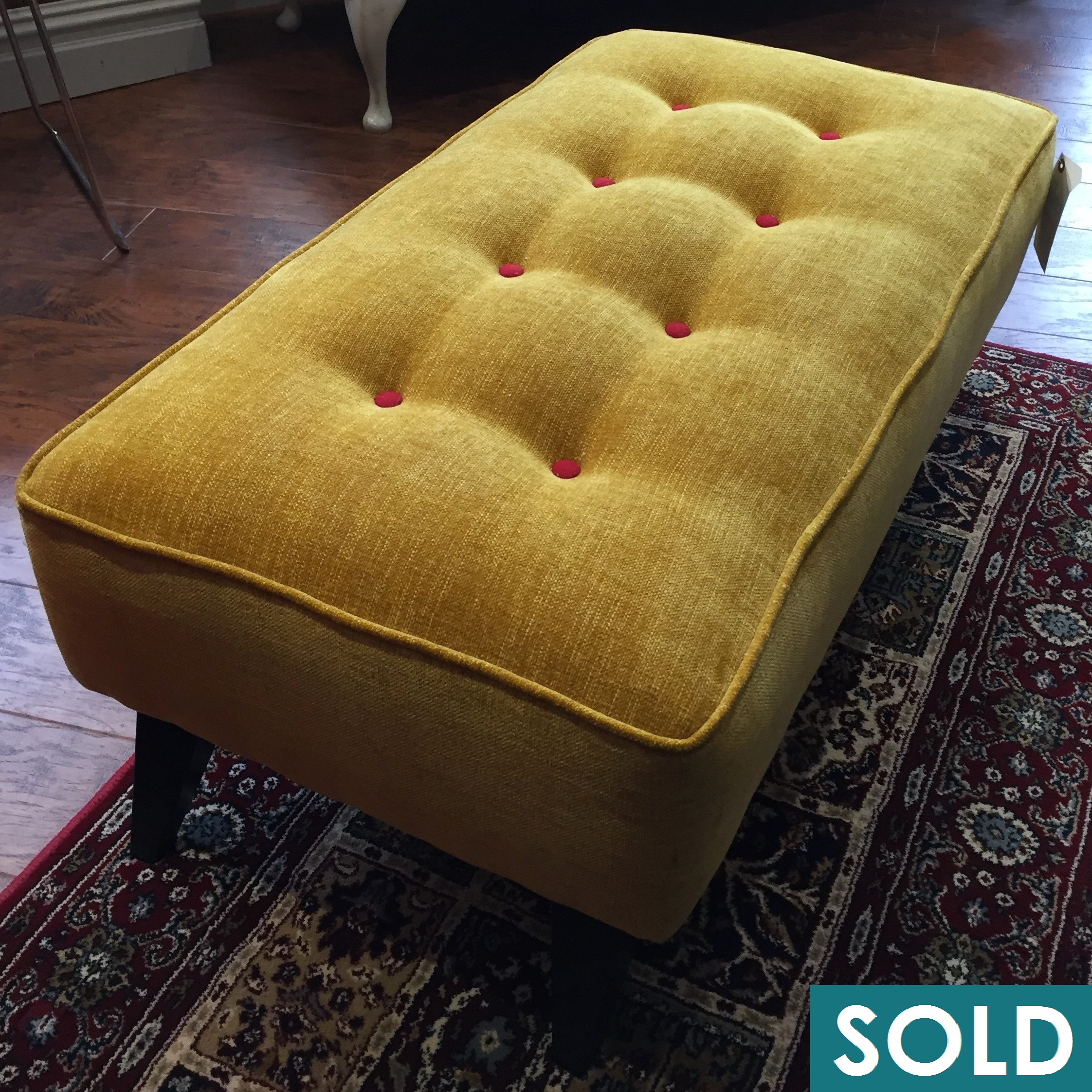 yellow footstool square sold